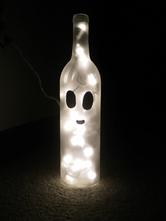 decorated wine bottles with lights | Ghost Wine Bottle Lamp by JLFuller08 on Etsy