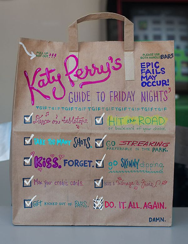 "give or take a few items, complete the ""last friday night"" checklist in one night."