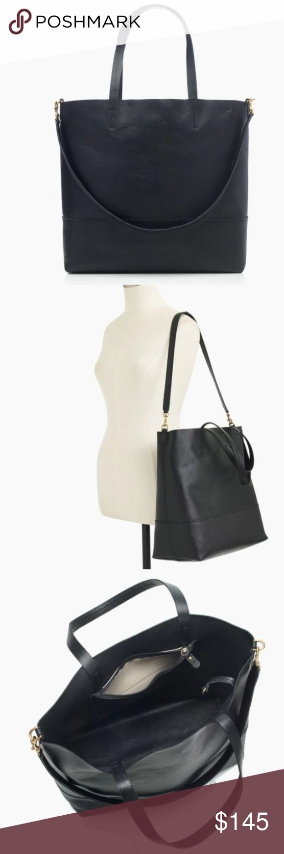 """J. Crew Large Black Classic Leather Tote J. Crew Leather Tote (Item G9608)  This roomy-but-polished tote proves your work bag, errands bag, gym bag and going-out bag can all be the same bag.  Leather. 13 1/2"""" H x 13 1/2""""W x 6 1/4"""" D.  From the J. Crew retail store, not the factory store. Brand new, never used. Still in its plastic. PRICE FIRM. J. Crew Bags"""
