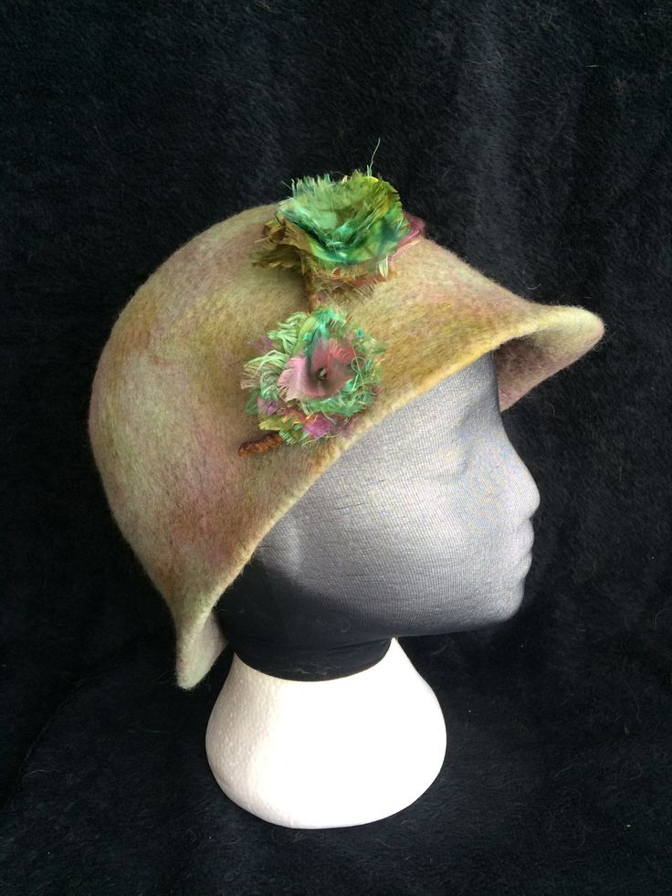 Merino wool cloche style dress hat with silk accent flowers by FeltTheFluff on Etsy