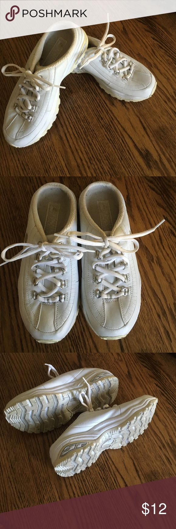 White Skechers sport slip ons Size 7 1/2 Skechers slip on white sneakers. In very good condition Skechers Shoes Sneakers