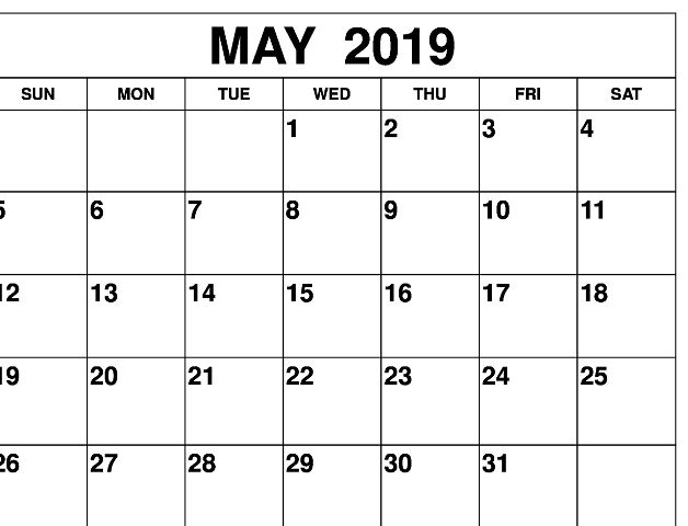 Calendrier 2019 Xls.Free Printable Calendar May 2019 Download Xls A4 Page