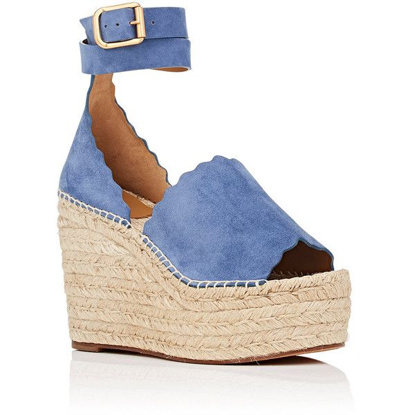 Chloé Women's Lauren Suede Espadrille Sandals ($660) ❤ liked on Polyvore featuring shoes, sandals, open toe wedge sandals, wedge sandals, platform espadrilles, ankle strap wedge sandals and woven wedge sandals