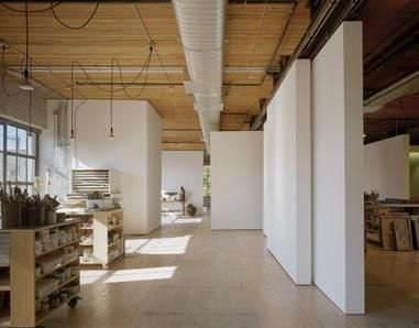 artist loft: olson kundig architects, tom kundig creates live/work/gallery space using wall panels along track system~ panels pivot, slide, & retract to define smaller spaces or one large one
