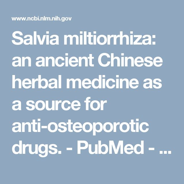 Salvia miltiorrhiza: an ancient Chinese herbal medicine as a source for anti-osteoporotic drugs.  - PubMed - NCBICONCLUSIONS:  The inclusion of Salvia miltiorrhiza in more than 30% of all herbal clinical trials successfully targeting osteoporosis has stimulated significant interest in the identification and characterization of individual constituents of this herb. The review highlights the anti-osteoporotic potential of Salvia miltiorrhiza in clinical applications and the potential of the…