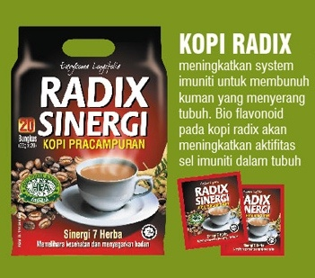 radix coffee is coffee with a blend of natural herbs. 7 mixed herbs. with incredible benefits. tongkat ali herbs as main ingredient.