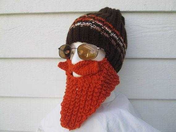KNIT BEARD HAT Beard Beanie Wild Man Bearded Hat by Ritaknitsall