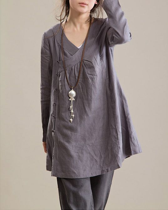 Plus Size Tunic V Neck Shirt Dress Long Sleeve Tunic. $52.00, via Etsy.
