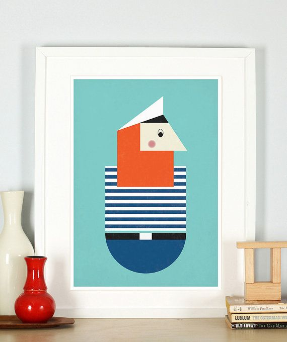 Retro poster for nursery pirate foxy beard nautical by EmuDesigns, $21.00