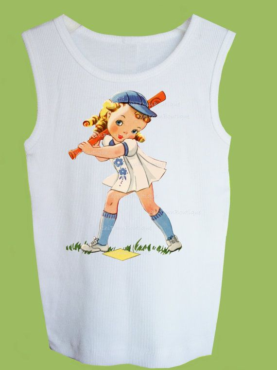 Retro Baseball Girl Tank, T-Shirt or One Piece Baby by ChiTownBoutique.etsy on Etsy, $15.00