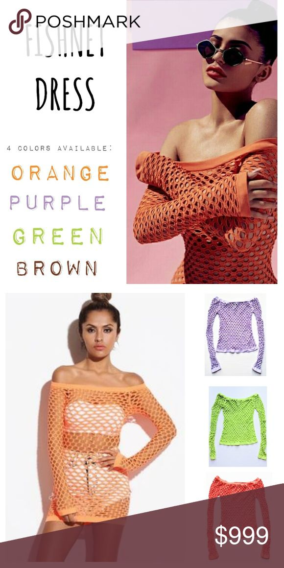 ғɪsʜɴᴇᴛ top/dress  -  ᴏɴᴇ sɪᴢᴇ ғɪᴛs ᴀʟʟ - Boutique - * Top / Mini Dress * One Size (fits small - large) * Large Fishnet  * Neon Green, Light Purple, Orange, Brown * Long Sleeve * Banded Hems * Super Soft, Stretchy Fabric * 92% Nylon / 8% Spandex * Can be worn as a top or mini dress & off or on shoulders * BRAND NEW - FLAWLESS * As seen on Kylie Jenner in cover photo * Glow * Rave * Festival * Party * Black Light * Sheer * Bare Shoulder * Sexy * Small * Medium * Large * OS * OSFA * OSFM…