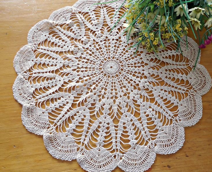 Vintage Crocheted Doily  Doilys Large Ecru Doilies  Centerpiece  G8 by TreasureCoveAlly on Etsy