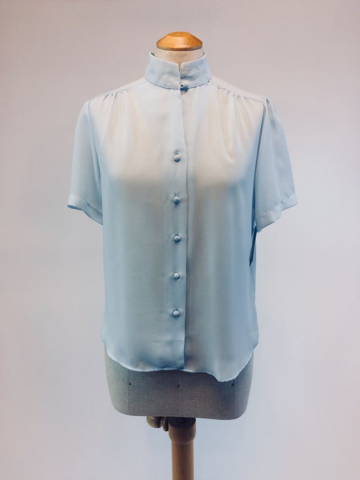 Delicate 1970s Blue Chiffon Blouse, Size M