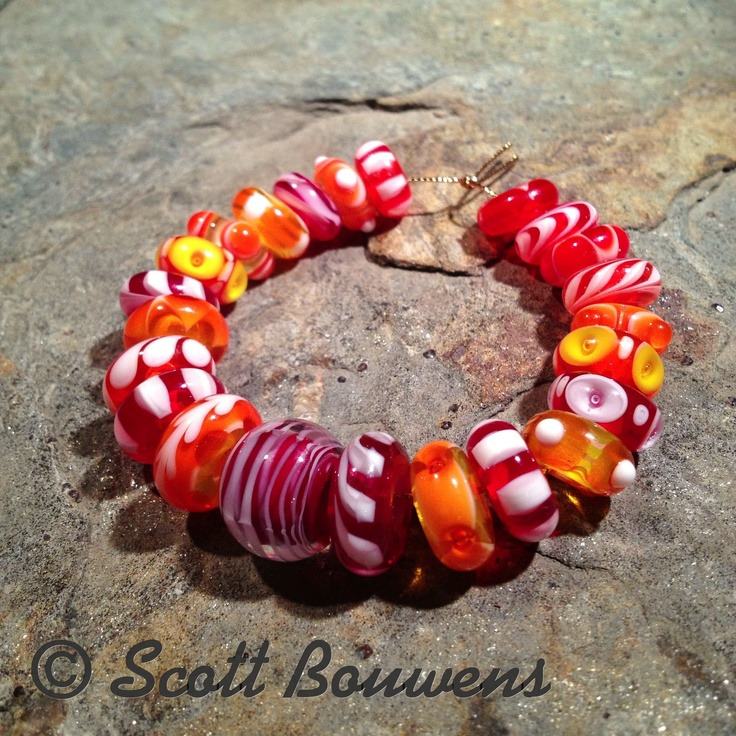 sunset colorful mix lampwork bead set by scott bouwens love the colours in these