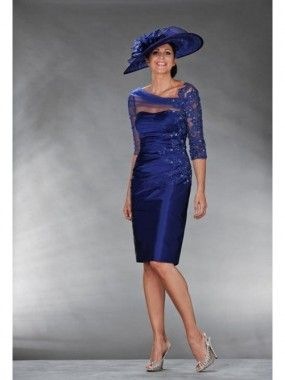 Sheath/Column 3/4 Sleeves Beading Satin Knee-Length Mother of the Bride Dresses