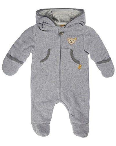 Praktisch für den Winter!!! Steiff Baby-Jungen Jacke Overall 1/1 Arm Fleece, Gr. 80, Grau (Steiff softgrey melange gray 8200)