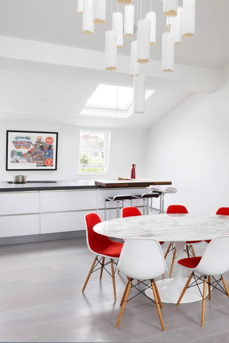 I like the definition of breakfast bar areaof island bench in terms of materiality.  MWAI renovation of west London flat.