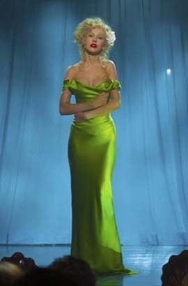 Christina Aguilera Sexy Green Off-the-shoulder Celebrity Dress in Burlesque