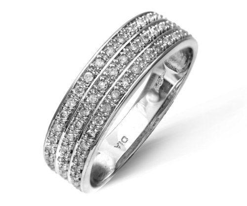 9ct White Gold Quarter Carat Triple Row Diamond Half Eternity Ring @  £169.1. Bague FemmeLe ...