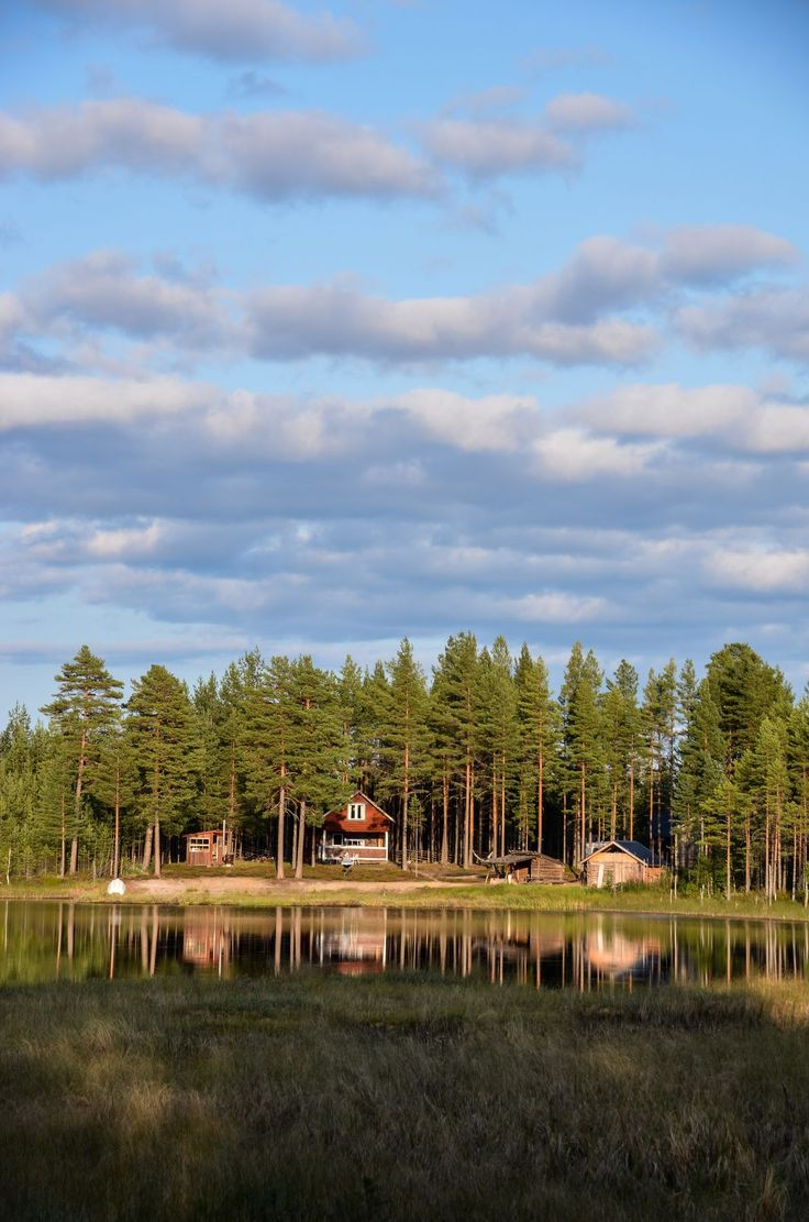 Red cabin at a Swedish forest lake
