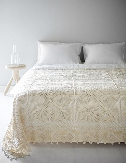 vintage crocheted bedspread- looking for ways to put Oma's handmade bedspread to use