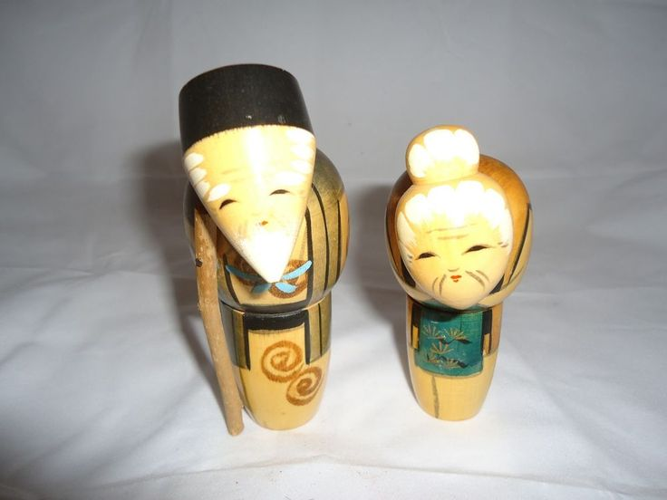 Pair of Japanese Old Man & Old Woman Wooden Kokeshi Dolls