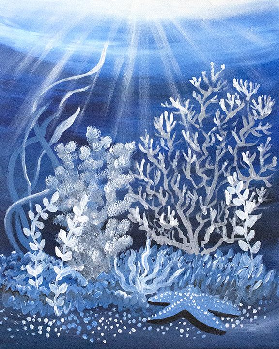 'Moonlight Coral3' Original Acrylic Painting
