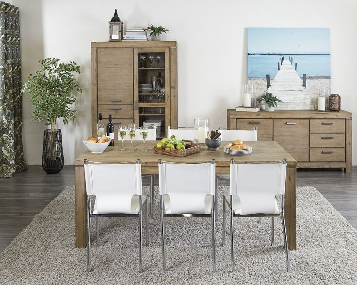 Modern And Rustic Dining Room Set Featuring A Solid Acacia Table Six PVC Chairs With