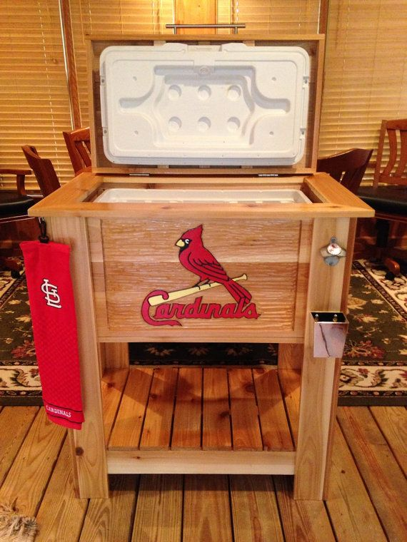 Custom cedar wood cooler with hand carved MLB St. Louis Cardinals front panel