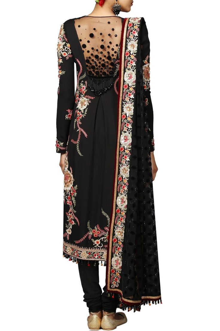 Featuring a black full sleeved sheer back kurta crafted in georgette with embroidered and embellished detailing. It comes along with a pair of matching churidaar in stretch net.    Please note the dupatta is used for styling purpose only Fabric: Georgette, Net  Care Instructions: Dryclean only.