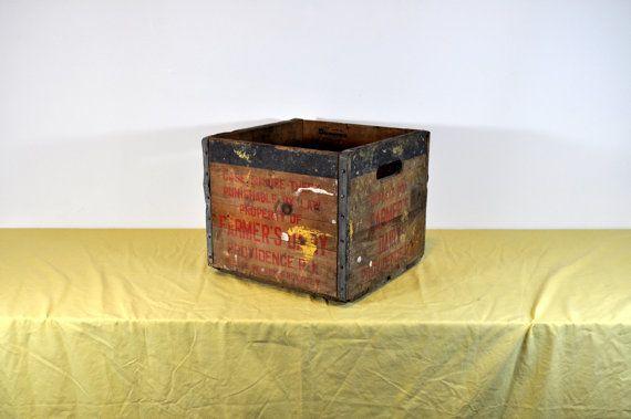 Storage Box Farmers Dairy Milk Crate Rustic by RustedPulchritude