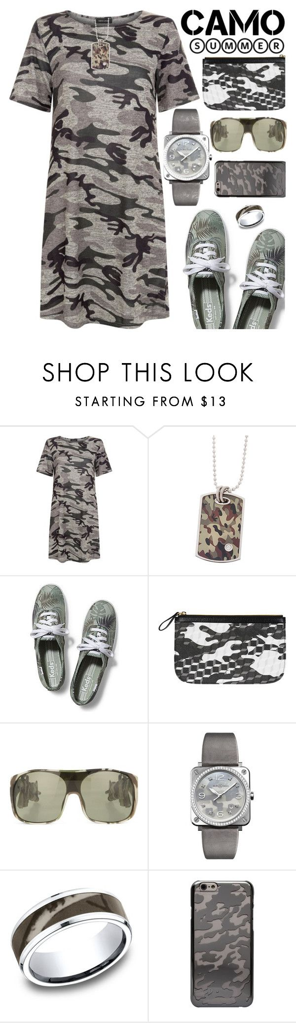 """Camo for Summer"" by rasa-j ❤ liked on Polyvore featuring New Look, Keds, Pierre Hardy, Jeremy Scott, Bell & Ross and CYLO"