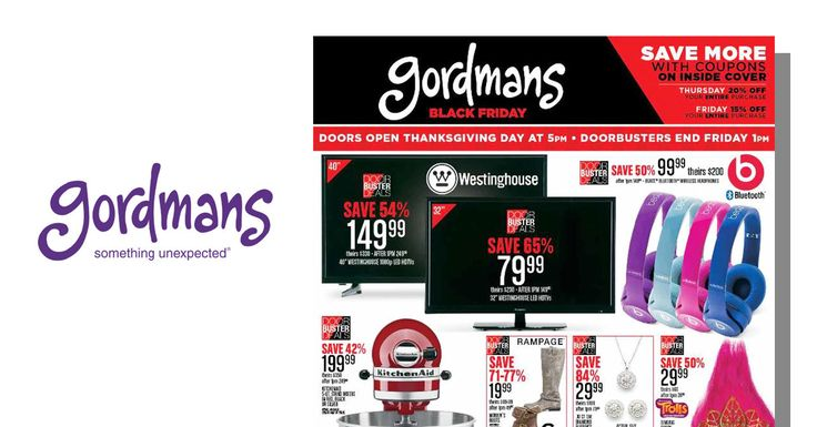Gordmans Black Friday 2016 ad feature 24-pages of doorbuster deals and extra 15-20% off coupon to use on top of low sale items. See it now!