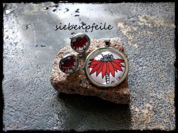 LimitedEdition Cabochon-Schmuckset Red-Flower von SiebenPfeile