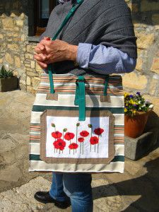 bags with flowers - diy sewing and cross stitch emboidery