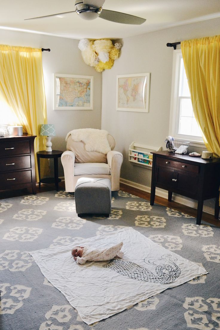 classic, gender neutral nursery - great for a boy nursery or girl nursery. greys, blues and a touch of soft yellow make this a great neutral baby room