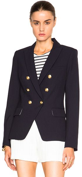 Veronica Beard Seaside Double Breasted Blazer in navy w/ gold buttons, $595 (Balmain dupe)