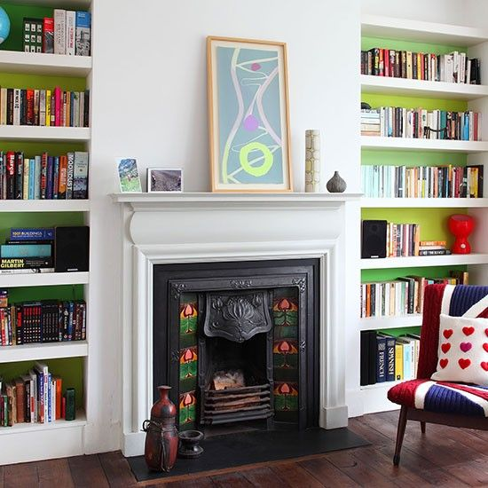 Green and white living room with fireplace | Living room decorating | housetohome.co.uk | Mobile
