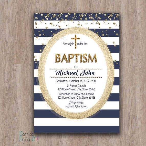 Navy and Gold Baptism Invitation Boy, Baptism Invitation Printable Boy Christening Invites Baptism Party Invitation, First Communion blue