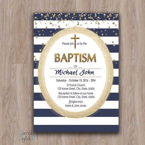 Navy and Gold Baptism Invitation Boy, Baptism Invitation Printable Boy Christening Invites Baptism Party Invitation, First Communion blue