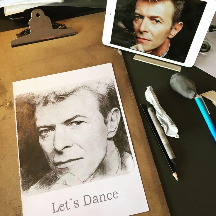David Bowie RIP tegnet på papir med blyant og grafit.