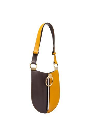 Earring Bag In Yellow And Brown Calfskin