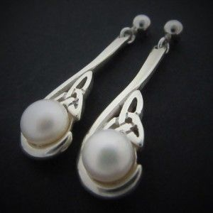 Unique Trinity Knot Earrings with White Round Freshwater Pearl