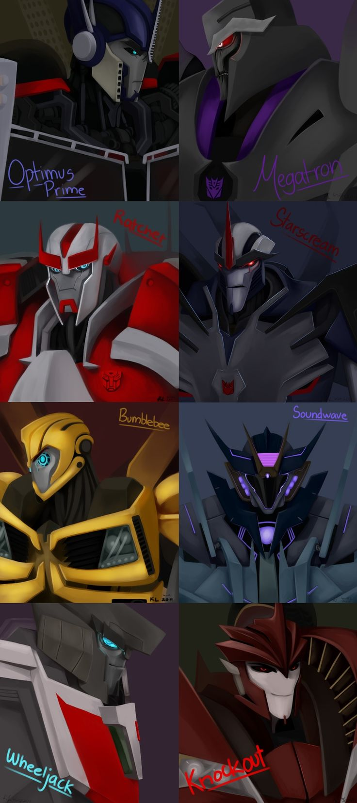 Optimus Prime, Megatron, Ratchet, Starscream, Bumblebee, Soundwave, Wheeljack, & Knock Out.