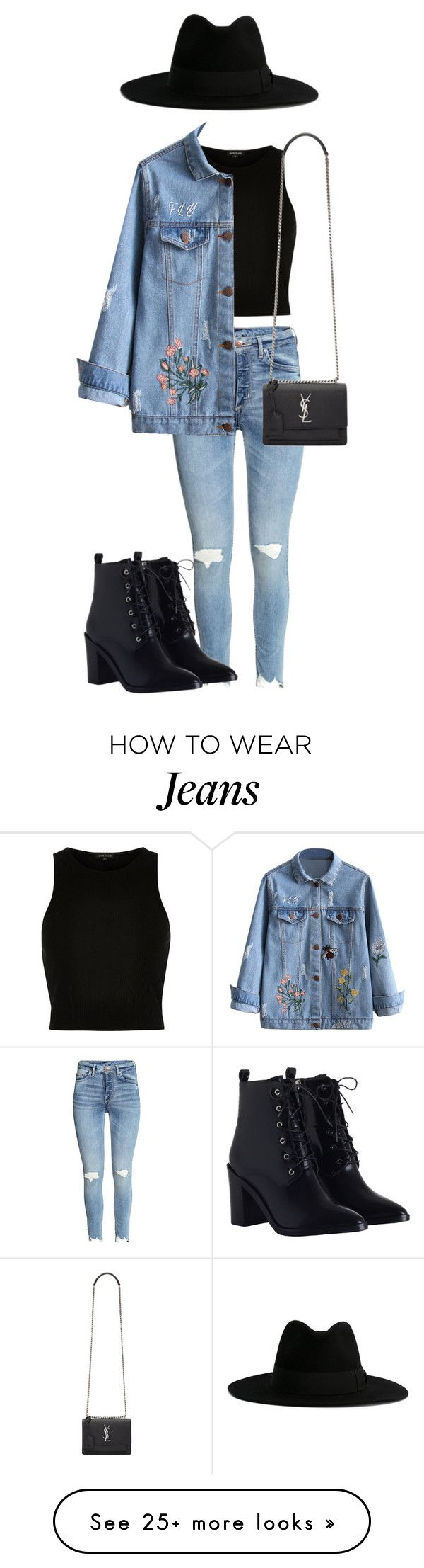 """""""Jeans + Jeans"""" by mamahstyle on Polyvore featuring River Island, Yves Saint Laurent and Zimmermann"""