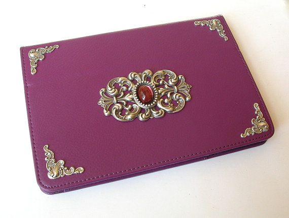 Mini iPad Leather Purple Case  -  Magnetic Closure Book Case  - Victorian Gothic iPad Accessories