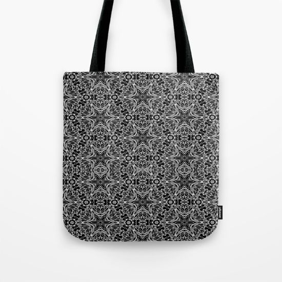 Black and white stars and squiggles 5015 pattern print tote bag