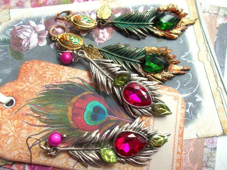 boucles d'oreille plume en métal argenté et cristal goutte candy