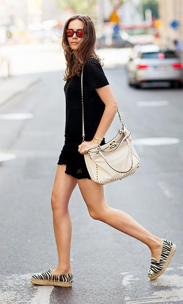 Wear a simple all black look with cool, printed espadrilles