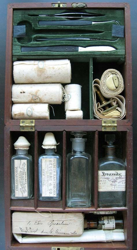 1860s First Aid kit. Germ theory was not well known until after the Civil War, and many soldiers and civilians died because of infection on the battlefield and after childbirth.